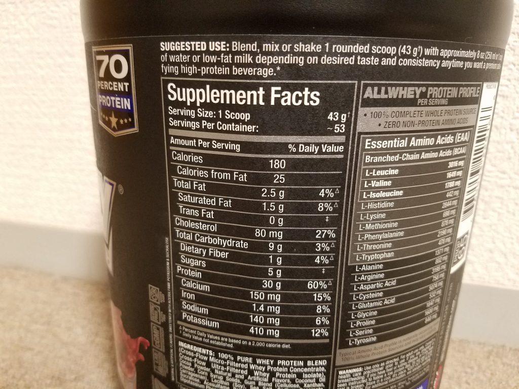 ALL WHEY CLASSIC 栄養成分