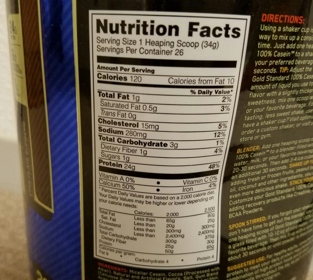 オプチマム社ゴールドスタンダード 100%カゼインプロテイン 栄養成分