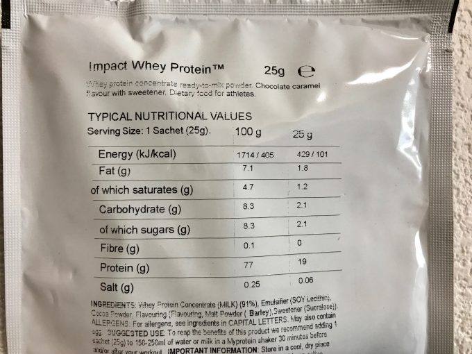 チョコレートキャラメル味 栄養成分