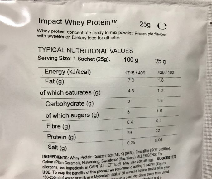 ピーカンパイ味 栄養成分